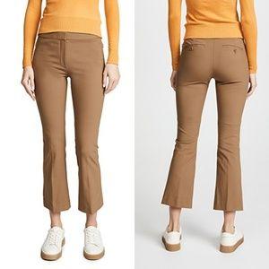 Theory Kick Crop Khaki Flare Leg Trouser Pants 4